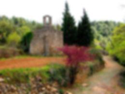 Eglise de Saint-Martin, vue générale, végétation colorée et foisonnante.
