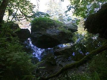 Rochers de la falaise, effondrés jusque dans la rivière.