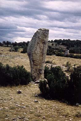 cromlech, cercle de pierres dressées, vue d'un menhir au centre d'un cromlech