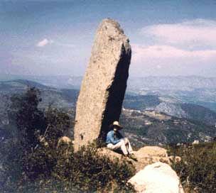 mégalithes, menhirs, vue d'un grand menhir dressé
