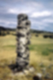 Randonnées pédestres dans des lieux insolites. Lien vers la page sur les menhirs. Photo : un menhir en forme de totem