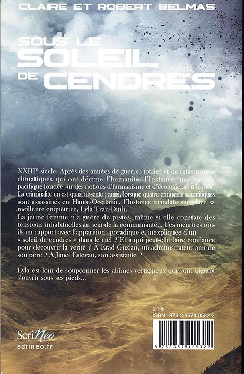 """Quatrième de couverture de roman """"Soleil de Cendres"""""""