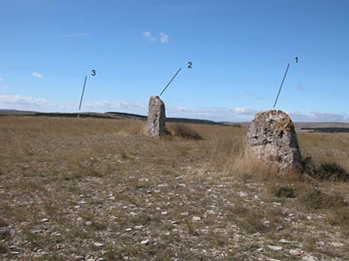 mégalithes, menhirs, vue d'un alignement de 3 petits menhirs plats
