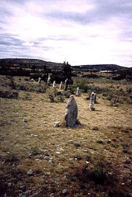 cromlech, cercle de pierres dressées, vue partielle d'un cromlech