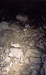Vestiges du village protohistorique, intérieur d'un habitat avec restes de pavage.
