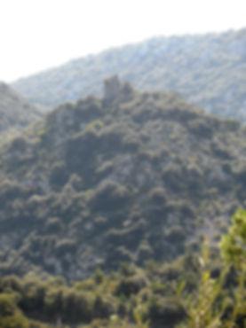 Photo montrant le château de Castel Fizel à la sortie des gorges de San Jaume.