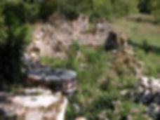 Moulin à turbines de Boulégou. Vue des meules.
