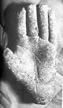 Les énigmes de Morenci, main de stéatite sculptée découverte dans les anfractuosités du monolithe.
