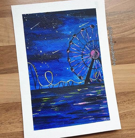 Themepark at night