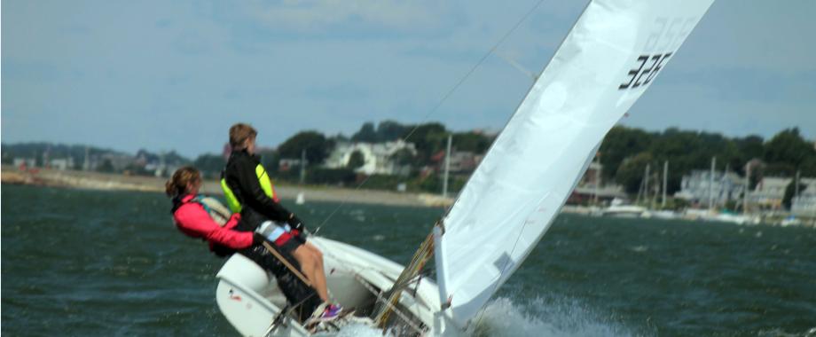 Riding out a puff (Jillian Harrington on helm, Colin Kelliher crew):