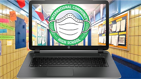 A computer with the ichs logo