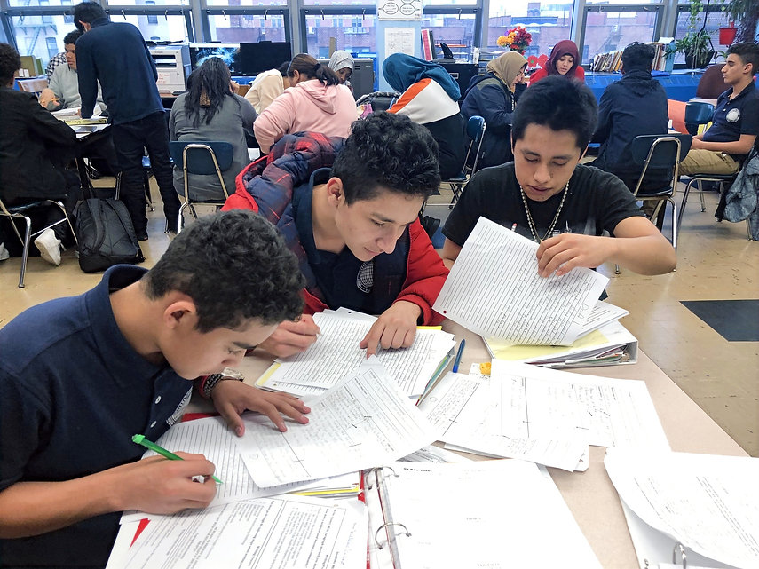 Group of ICHS studentsat a table studying
