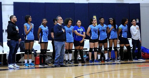 ICHS students girls volleyball standing