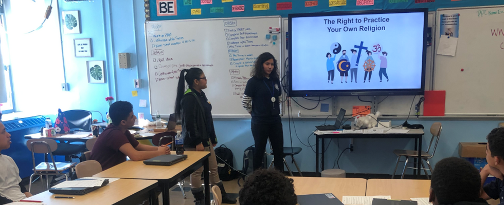 Students Lead A Presentation On People's Rights