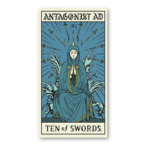 'Ten of Swords' Tarot Card Sticker (small)