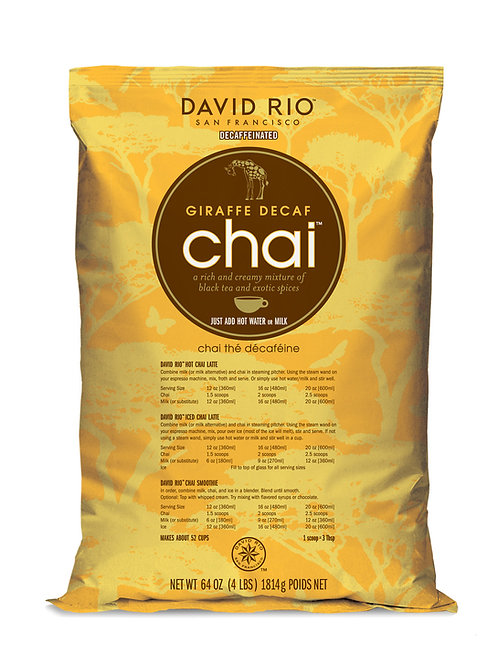 David Rio Giraffe Decaffeinated Chai Tea 4.0 Lb. Bag-WS