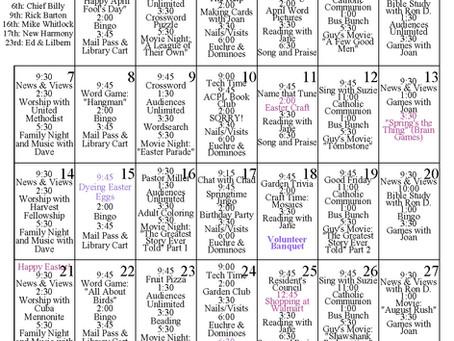 April 2019 Activity Calendar