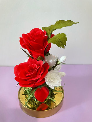 Immortal red roses glass dome