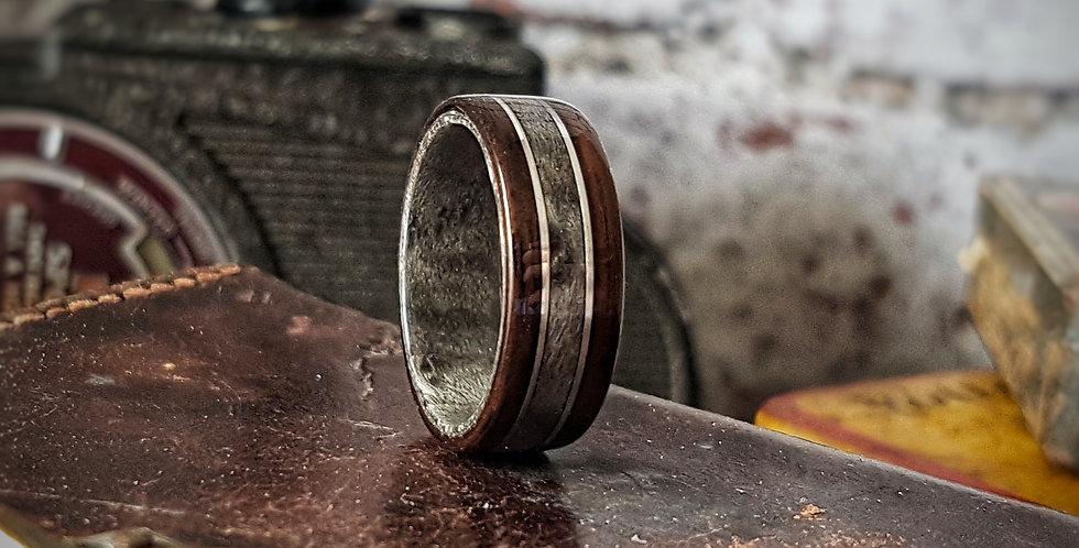 Ebony and Grey Birdseye Maple Ring with Silver Wire Inlays
