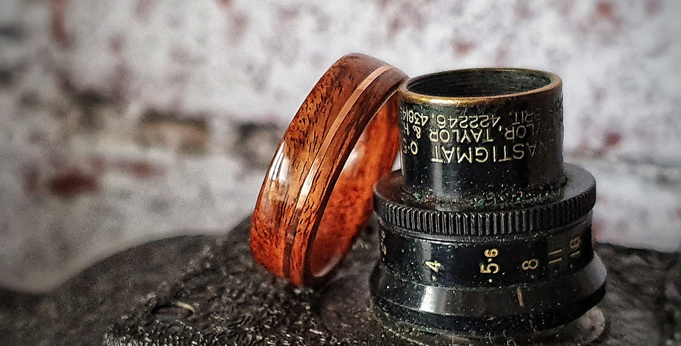 Santos Rosewood Ring with Offset Copper Inlay
