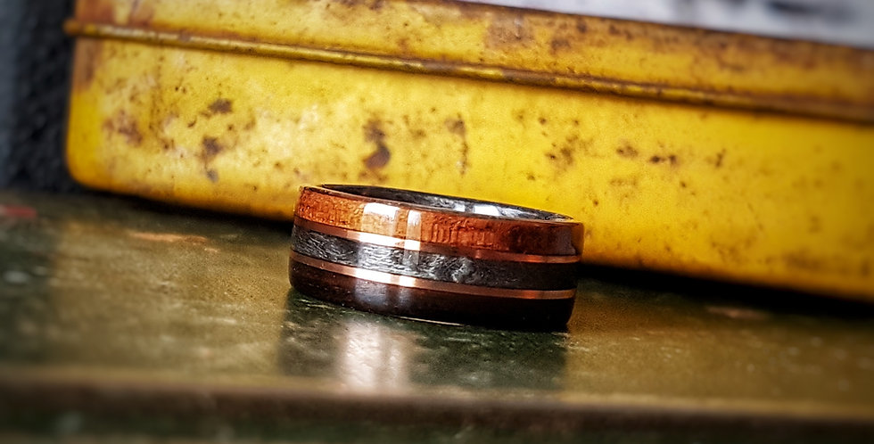 Ebony and Grey Birdseye Maple Ring with Copper Wire Inlays