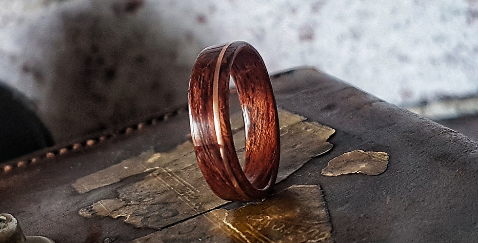 Figured Bubinga Ring with Copper Wire Inlay