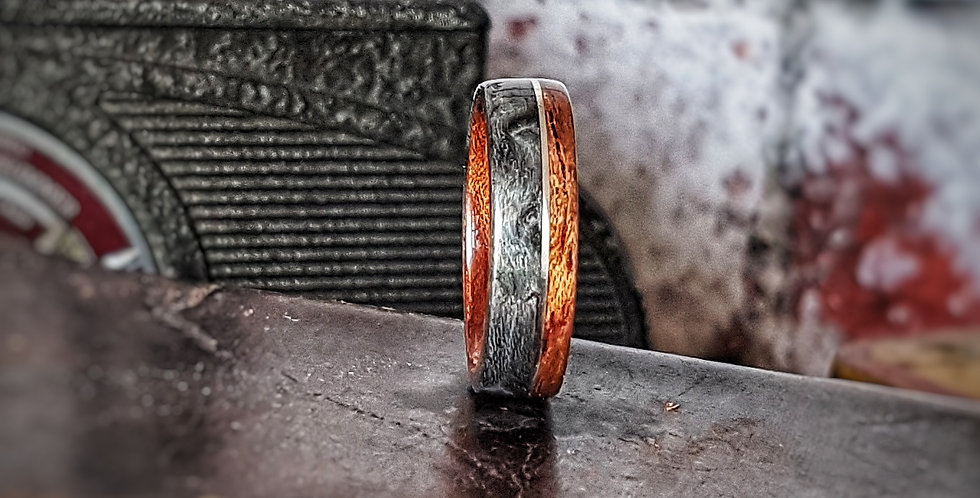 Figured Bubinga & Grey Maple Ring with Silver Wire Inlay