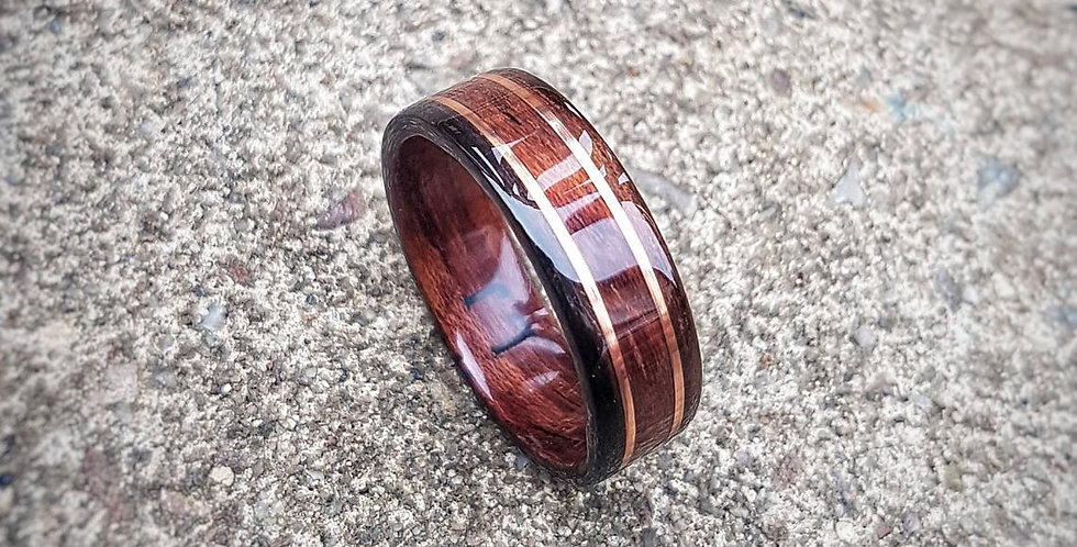 Bubinga Ring with Ebony Edges and Copper Wire Inlays