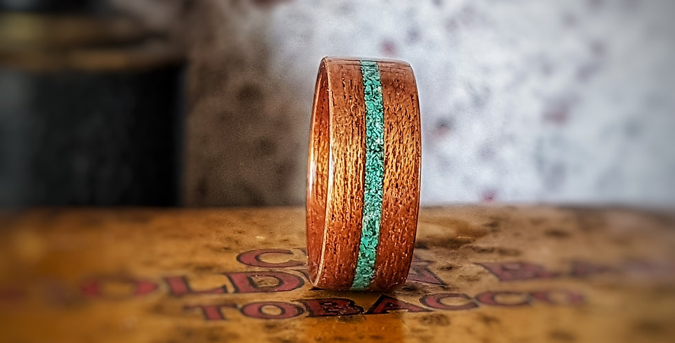 Sapele wood with a Central Crushed Turquoise Inlay
