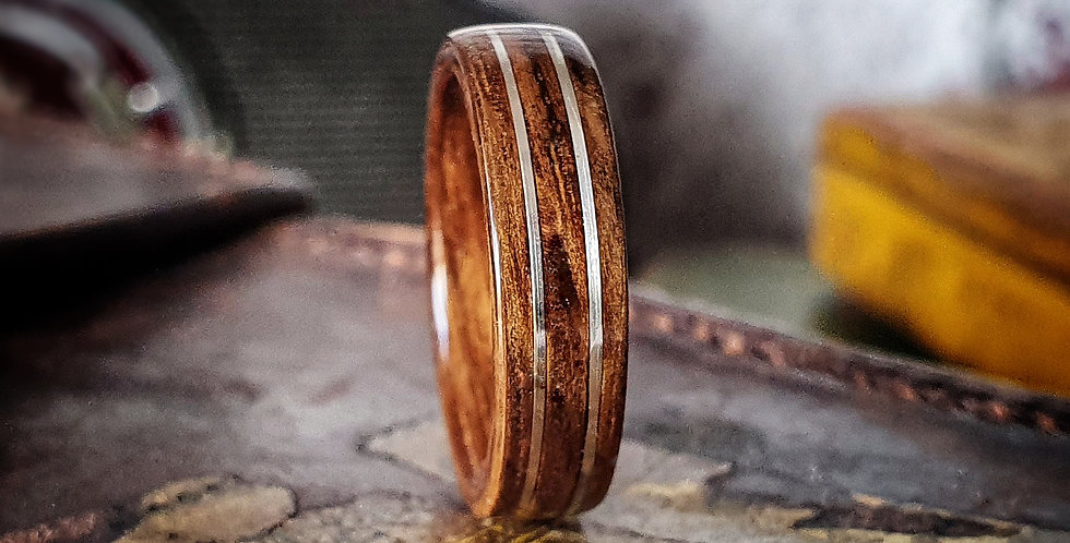 English Brown Oak with Twin Silver Wire Inlays