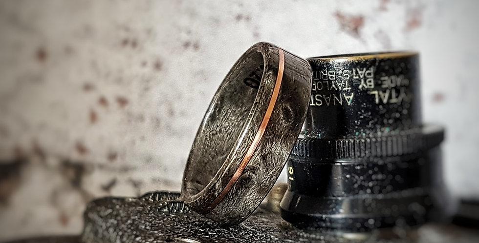 Grey Birdseye Maple Wedding Ring with Copper Wire Inlay
