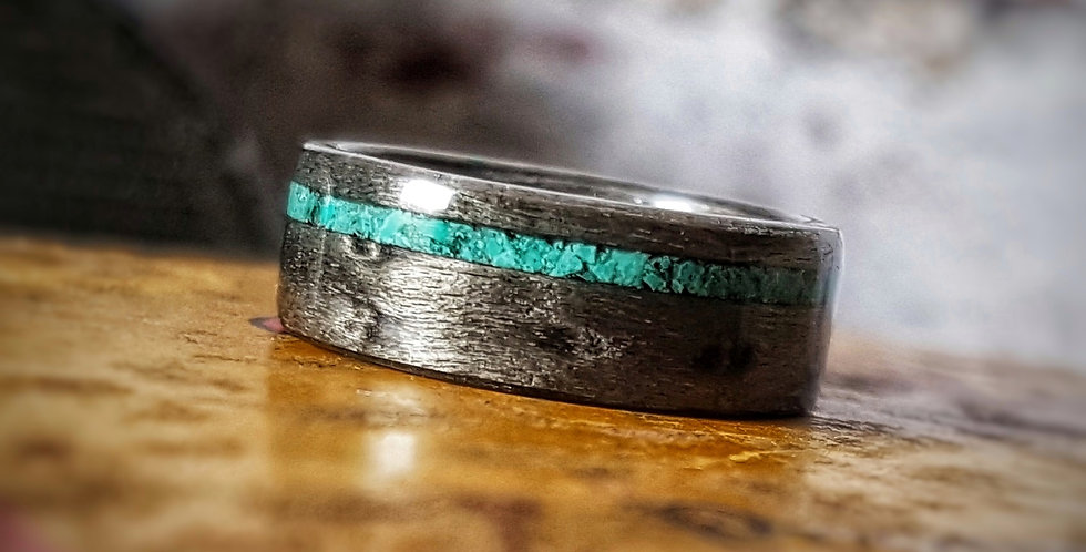 Grey Birdseye Maple with an Offset Fine Crushed Turquoise Inlay