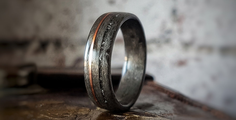 Grey Birdseye Maple Ring with Smoky Quartz & Copper Wire Inlays