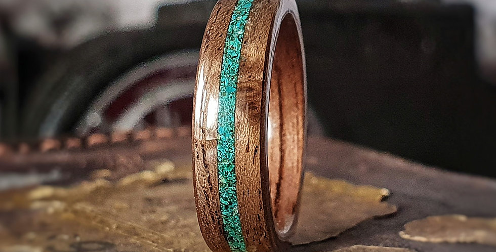 American Walnut with a Central Chrysocolla Inlay