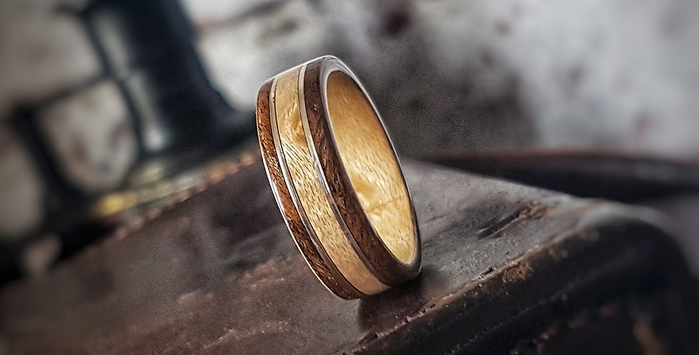 Birdseye Maple and Imbuia Burl Bentwood Wedding Ring with Stirling Silver Inlays