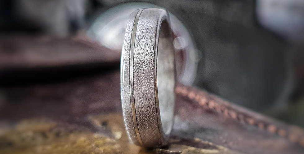 Figured Grey Maple Ring with Offset Stirling Silver Inlay
