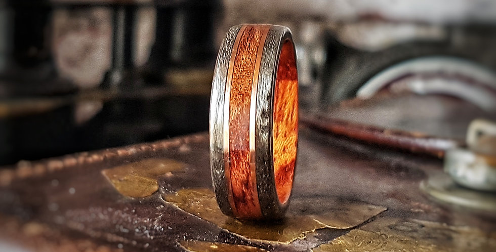 Bubinga Ring with Grey Maple Edges and Copper Wire Inlays