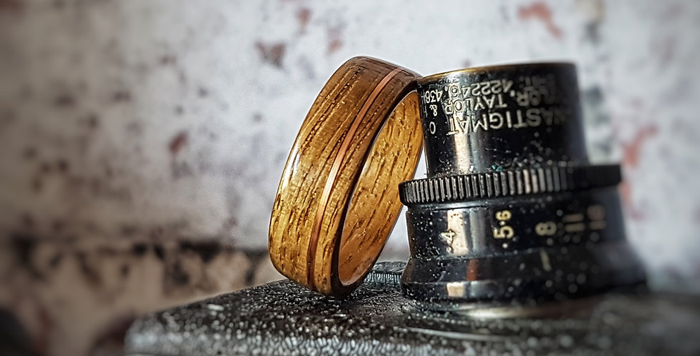 European Oak Ring with Copper Wire Inlay