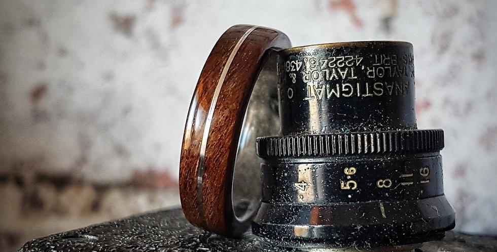 Black Imbuia Burl Bentwood Wedding Ring with a Grey Birdseye Maple Liner and Sti