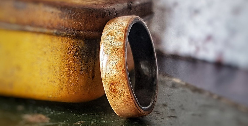 Maple Burl Ring lined with Grey Birdseye Maple