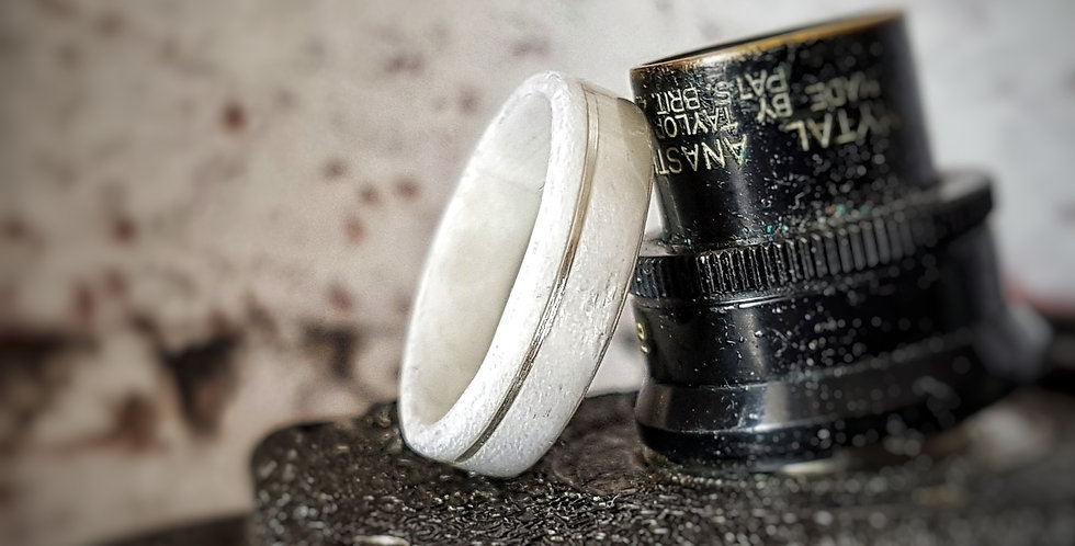 Ice White Birdseye Maple Ring with Offset Stirling Silver Inlay