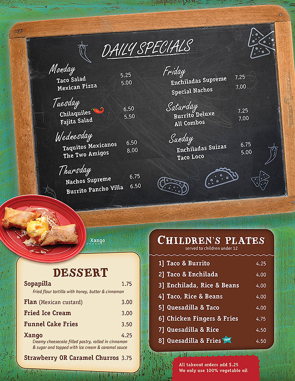 Mi Pubs Daily Specials / Dessert / Children's Plates