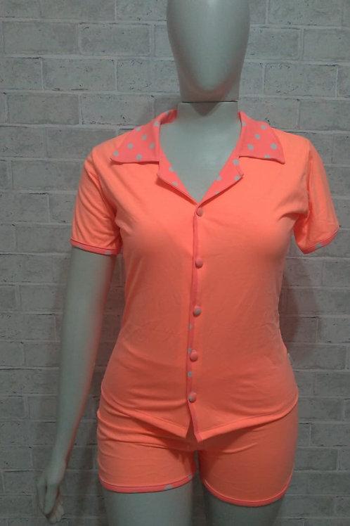 Pijama Neon Pinup Laranja