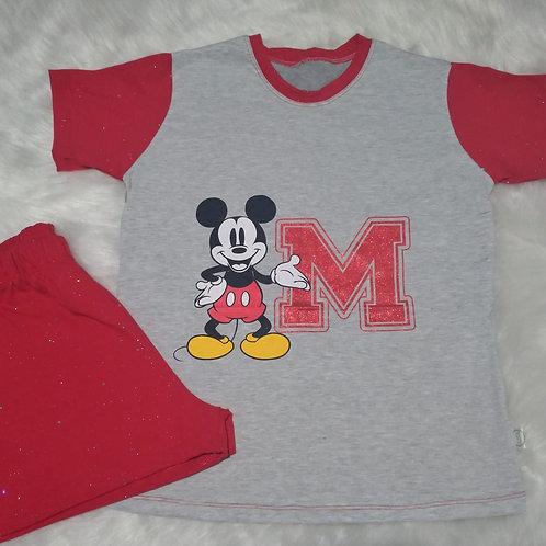 Pijama mickey com glitter - tam P