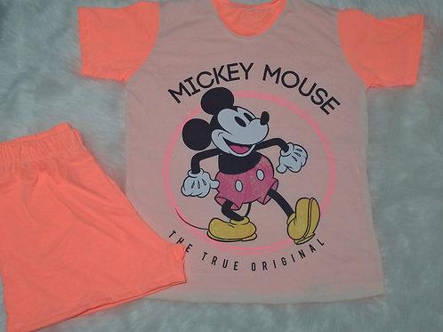 Pijama Mickey neon tam. P