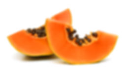slices of sweet papaya on white backgrou