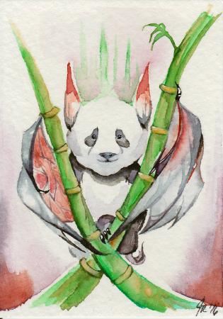 """Panda Bat 2.5"""" x 3.5"""" ACEO"""