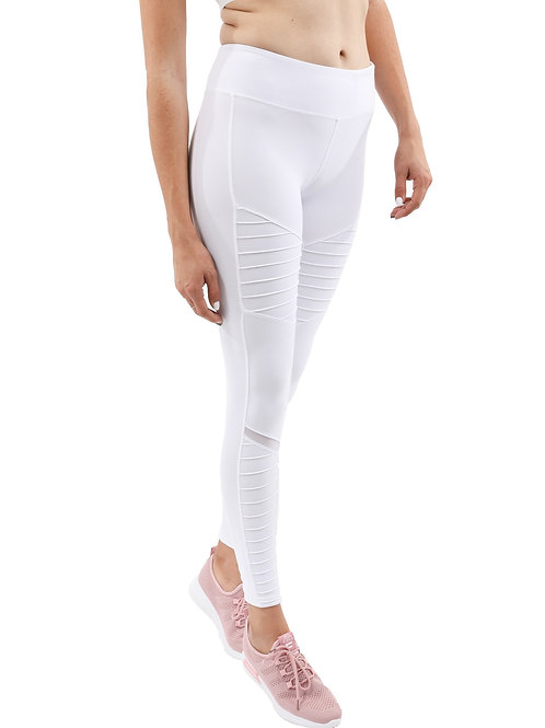 Athletique Low-Waisted Ribbed Leggings With Hidden Pocket and Panels - White
