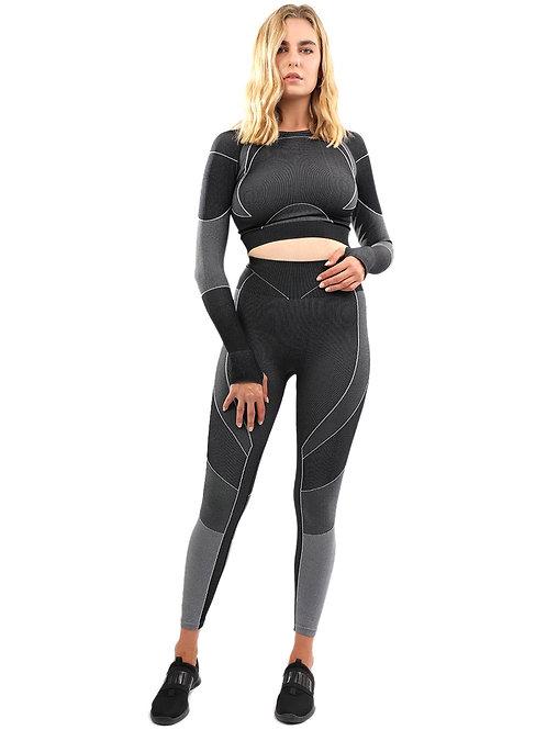 Escolta Seamless Legging & Sports Top Set - Black & Charcoal Grey