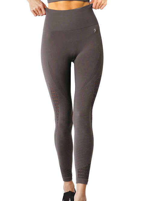 Mesh Seamless Legging With Ribbing Detail - Taupe